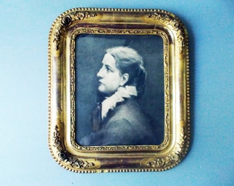 1800s Antique French Portrait Charcoal  Drawing Signed Original Gilded Frame