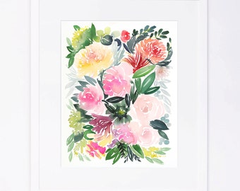 Colorful Watercolor Floral Cluster