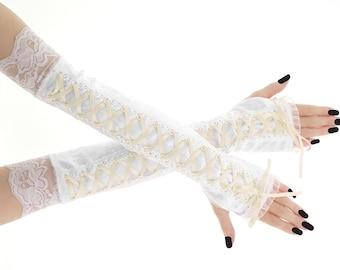 Bridal white velvet lace fingerless bridal gloves, bridesmaid gloves, lace velvet wedding women's fingerless gloves, romantic glove 1090S