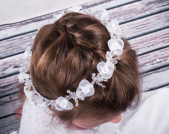 Holy communion wreath in white with cristals