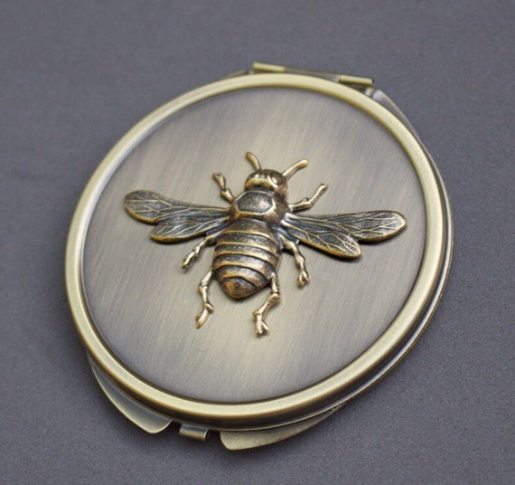 Anvil 83574 Ebony Antique Brass Beehive Door Knobs: Antique Brass Compact Mirror Case Brass Bee Mirror Art Deco