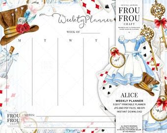 Alice Weekly Planner Alice In Wonderland Planner Printable Scheduler Fairytale Organizer Instant Download Agenda Watercolor To Do List