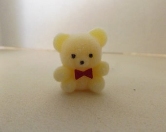 "Dollhouse Miniature Flocked 1"" Light yellow Bear With Red Bow"