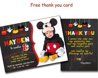 Mickey invitation,Mickey Mouse Birthday Invitation, Invite. Mickey chalkboard Invites. DIY Cards Prints, Disney, Disney's Print