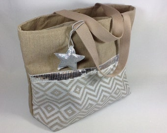 Linen shopping bag, chevron pattern and silvered spangles