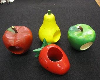 Vintage Set of 4 Hand Painted Wood Fruit Napkin Holders