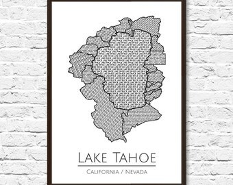 Lake Tahoe Art, Lake House Decor, Lake Tahoe Print, Travel Map, Map Artwork, Lake Tahoe Poster, Office Decor, Home Decor, Map Art