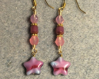 Pink marbled Czech glass star bead dangle earrings adorned with pink Czech glass beads.