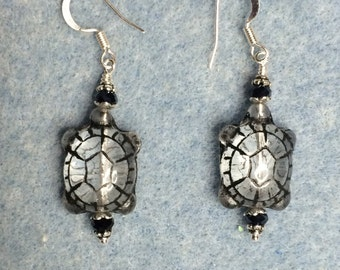 Clear with black inlay Czech glass turtle bead earrings adorned with black crystal beads.