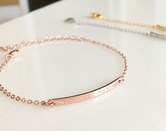 Personalized Rose Gold Jewelry Rose Gold Bracelet Personalized bracelet