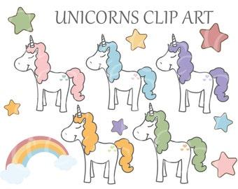Kawaii Cute Unicorn Star Rainbow Clipart Clip Art Digital Scrapbook Instant Download Invitation Card Cute PNG