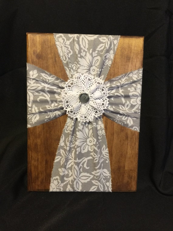 Fabric Cross And Wood Wall Hanging