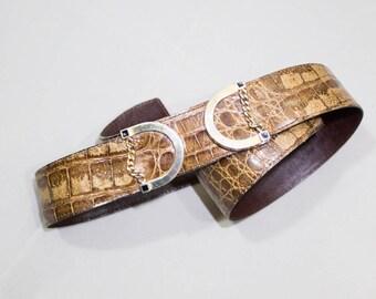 Genuine Exotic Alligator Belt, Italian Vintage 80s brown belt, high quality leather croco, made in italy high waist belt brown tones