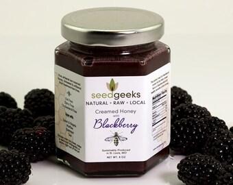 Artisan Raw Blackberry Creamed Honey - 8oz - All natural, treatment free, blackberry honey, flavored honey, organic blackberry