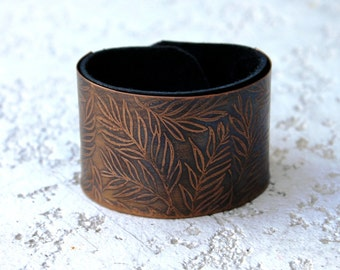 Leather Bracelet, Etched Copper Bracelet, Women's Leather Bracelet