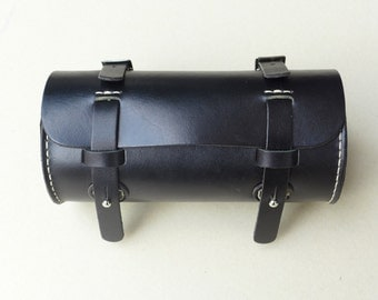 Leather Bicycle Bag, Black Leather Bike Bag, Black Leather Bag, Leather Bag, Bike bag, Cycling, Bike Accessory, Bicycle, Bike