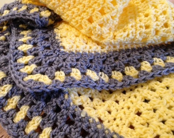 Crocheted Gorgeous Yellow and Heather Grey Baby Carrier Blanket