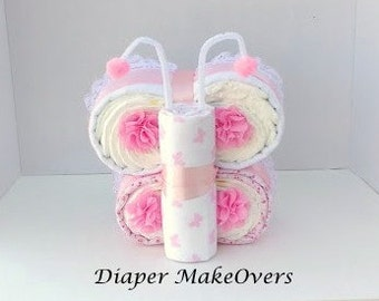 Butterfly Diaper Cake - Pink Butterfly - Unique Baby Shower Gift -  Baby Boy, Baby Girl, Gender Neutral Baby Gifts