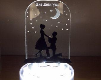 Personalised mr and mrs proposal illuminated wedding cake topper