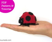 Ladybug Sewing Pattern, Finger Puppet, Stuffed Animal Sewing Pattern, Ladybird, Bug, Insect, Felt Ornament, Handmade Toy Gift for Children