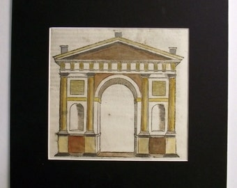 1584 Serlio Woodcut handcoloured - ARCHITECTURE - PORTAL ARCH
