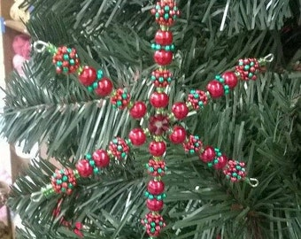 Red and Green beaded snowflake