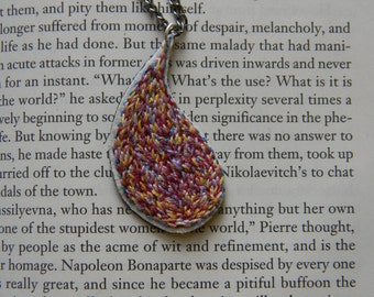 Hand embroidered pendant necklace, colorful tear drop necklace, textile fiber necklace, yellow, orange, pink, red