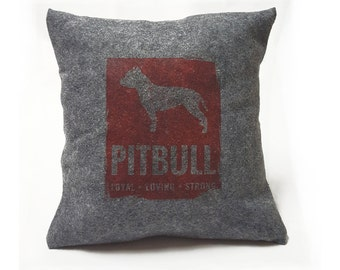Handmade Felt Pitbull Pillow Cover - Dog Lover Gift Pet Pillow Dog Art Dog Breed Pillow Custom Pillow Home Decor Throw Pillow Vintage Style