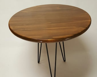 Mid Century Modern Side Table, Mid Century Modern Furniture, Hairpin Legs, Reclaimed round table