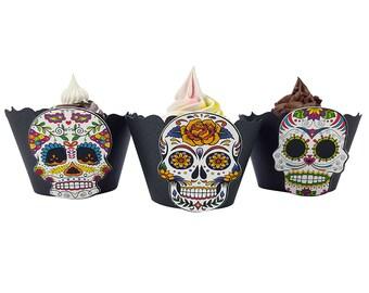 Dia de los muertos party cupcake wrappers, dia de los muertos decor, dia de los muertos wedding, sugar skull decor, halloween party, SSW001