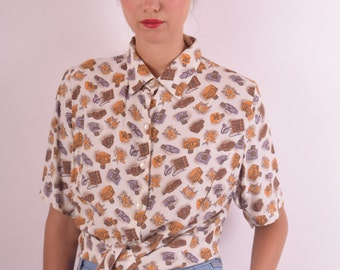 Vintage Shirt Printed with Perfume Bottles (566)