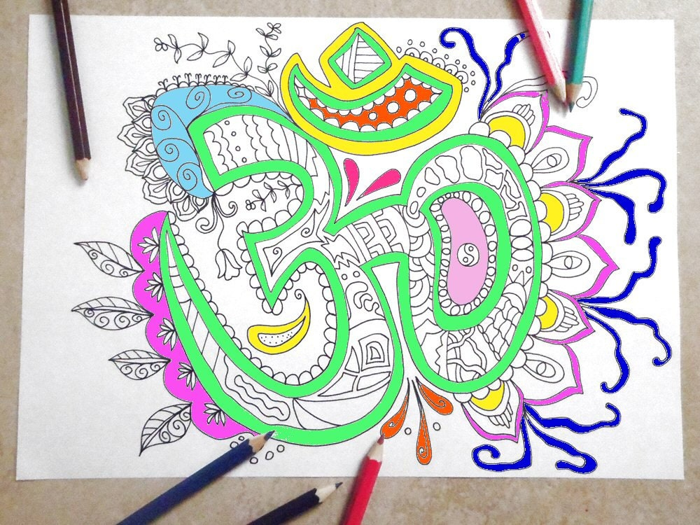 Om Coloring Book Page Art Therapy Adults Zen Mantra Instant