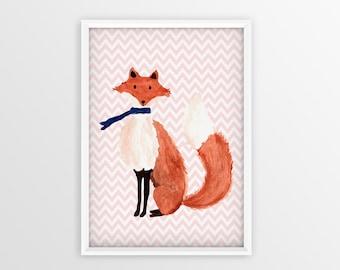 Fox Print,Fox Art, Fox Poster, Watercolor poster, Fox , Fox Watercolor Art Print,   Fox Nursery Decor, Baby Nursery Wall Art