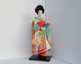 "19"" Japanese Vintage Geisha Doll in Traditional Silk Kimono - Hand Painted Japanese Geisha Art Doll"
