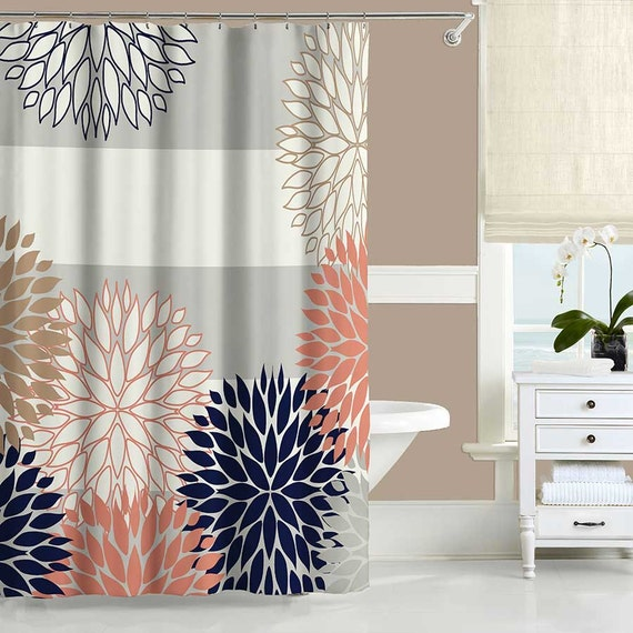 Coral Shower Curtain Navy Blue Pink Gray Shower Curtain