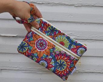 Bright Floral Wristlet Wallet