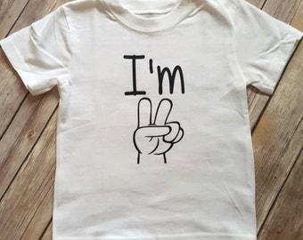 Boy Birthday Shirt | I'm Two | Toddler boys birthday shirt | I'm 2 two shirt | 2nd birthday shirt