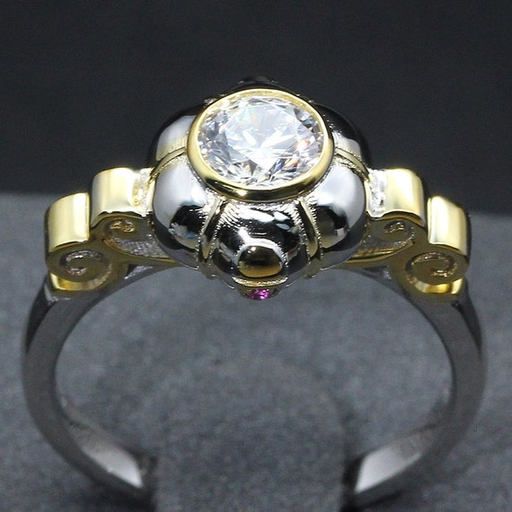 Fairy Tales Wedding Ring Sets: Cinderella Pumpkin Carriage Fairy Tale Wedding Engagement Ring