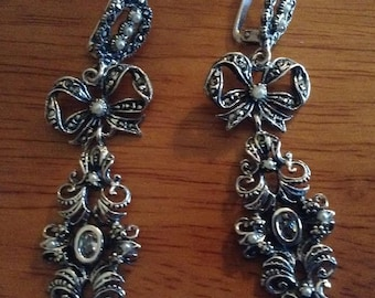 Sterling Silver Earrings with Pearls and Cz