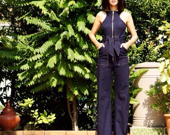 Women's Jeans Jumpsuit/bodysuit high Waist big flares bell bottom- vintage 70s fashion