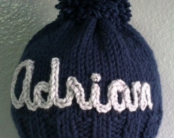 sizes 0 - 4 yrs. - Custom made, Personalized,  Hand-Knit Baby Hat
