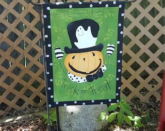 Polka Dot Jack Hand Painted Garden Flag