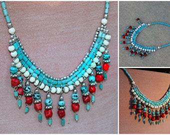 Tibetan Turquoise & Coral Free Spirit Tenzin Necklace