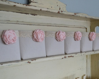 Shabby Chic Canvas and Lace Baskets Organizing Decor Rustic GIFT Basket Bridesmaid Set Pink Flower  6 x 7