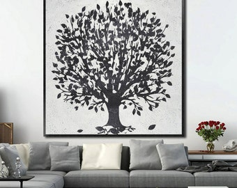 Large oil painting-Original abstract artwork on canvas-Trees-Simple painting