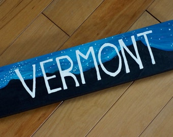 Starry Night Mountain Silhouette Vermont Wood Plaque/3.5 in x 15 in x 1 in/Painted Decoration
