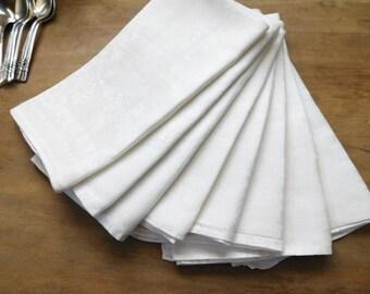 Mismatched White Linen Dinner Napkins Set of 8