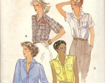 Vintage Vogue 7009 Semi Fitted Blouse Sewing Pattern Size 10 Uncut