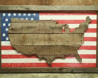 American Flag / United States Reclaimed Wood 3D Wall Decor