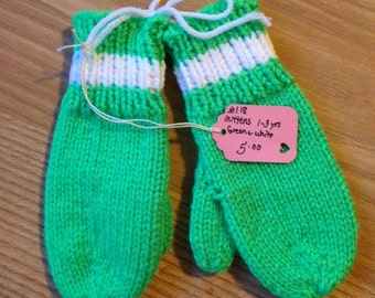 Childrens Mittens, age 1 - 3 years, hand knitted